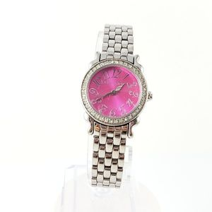 Betsey Johnson Watch Hot Pink Face + Silver Tone